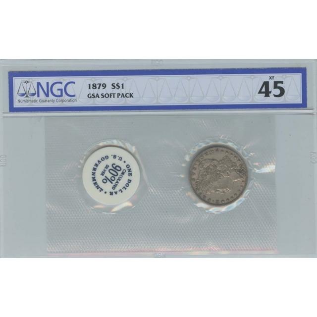 1879 Morgan Dollar GSA SOFT PACK S$1 NGC XF45