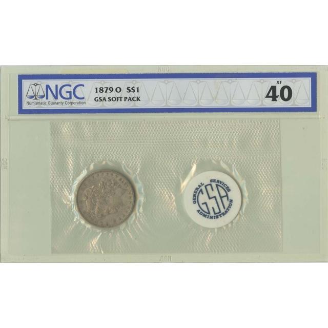 1879-O Morgan Dollar GSA SOFT PACK S$1 NGC XF40