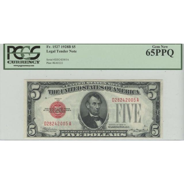 1928B $5 Legal Tender Note PCGS Gem New PPQ