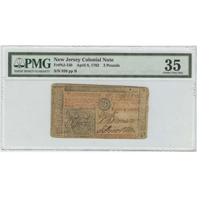 1762 New Jersey Colonial Note 3 Pounds PMG CVF35 NJ-150 POP 2/1