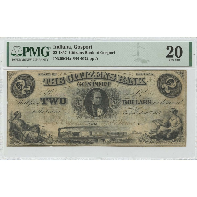 1857 $2 Indiana Gosport Citizens Bank Obsolete PMG VF20