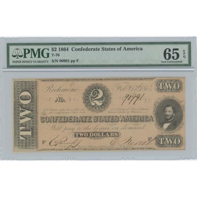 1864 $2 Confederate States CSA T-70 PMG GEM 65 EPQ