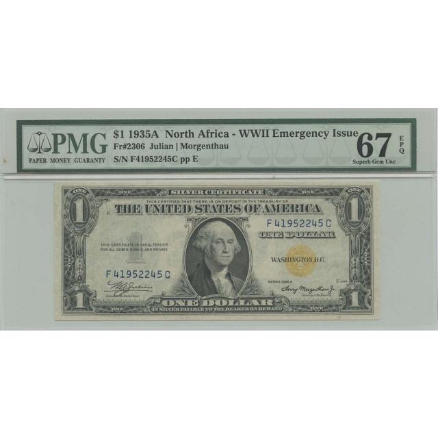 1935A $1 N Africa WWII FR#2306 PMG 67 Superb Gem EPQ FC Block