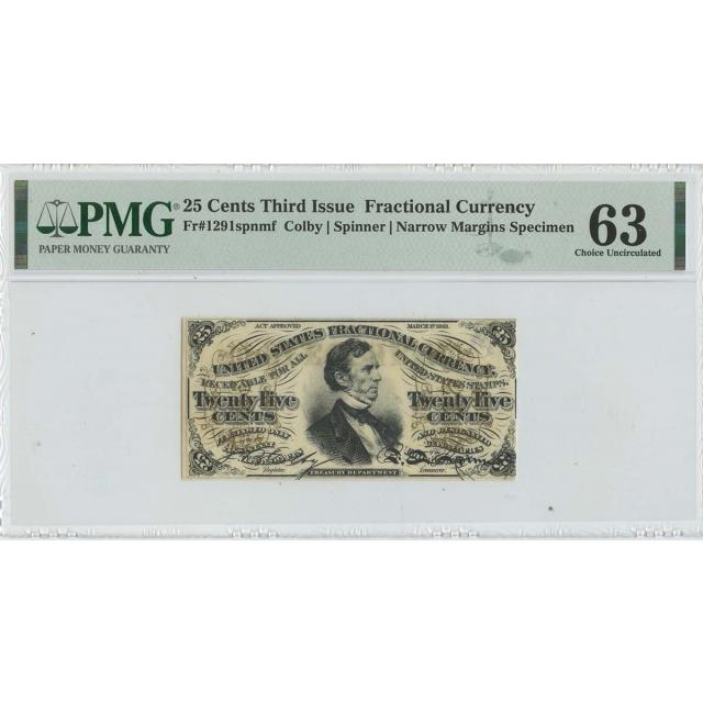 Third Issue 25 Cents Fractional Specimen FR#1291spnmf PMG MS63