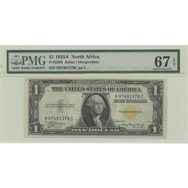 1935A $1 N Africa WWII FR#2306 PMG 67 Superb Gem EPQ RC Block