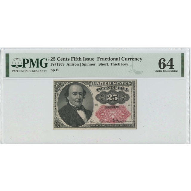 Fifth Issue 25 Cents Fractional Fr# 1309 PMG 64 CH Unc Short Thick Key