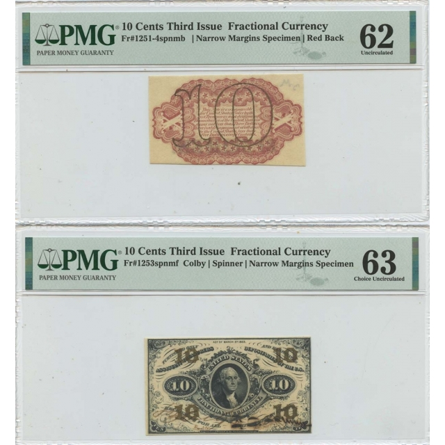 2pc Set Third Issue 10 Cents Fractional Specimen FR#1253spnmf PMG MS63