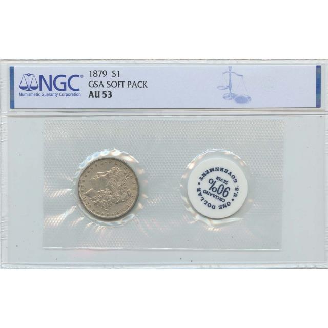 1879 Morgan Dollar GSA SOFT PACK S$1 NGC AU53