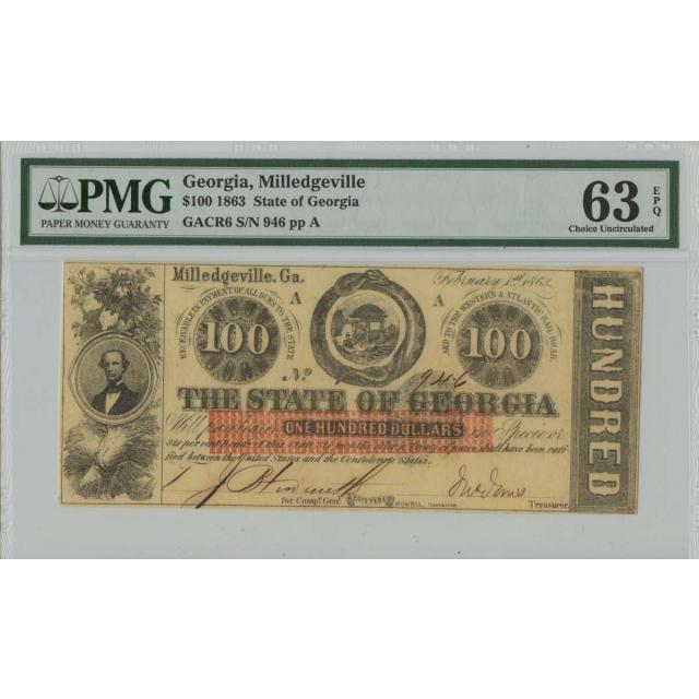 1863 $100 Georgia Obsolete PMG 63 Choice UNC EPQ Milledgeville Georgia