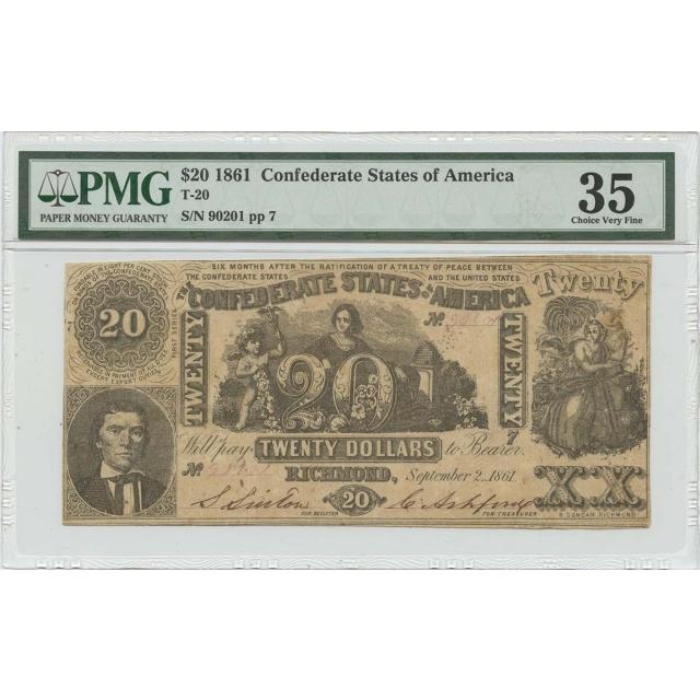 $20 1861 Confederate Note T-20  PMG 35 CH Very Fine