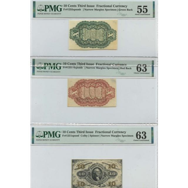 3pc Set Third Issue 10 Cents Fractional Specimen FR#1251spnmf PMG MS63