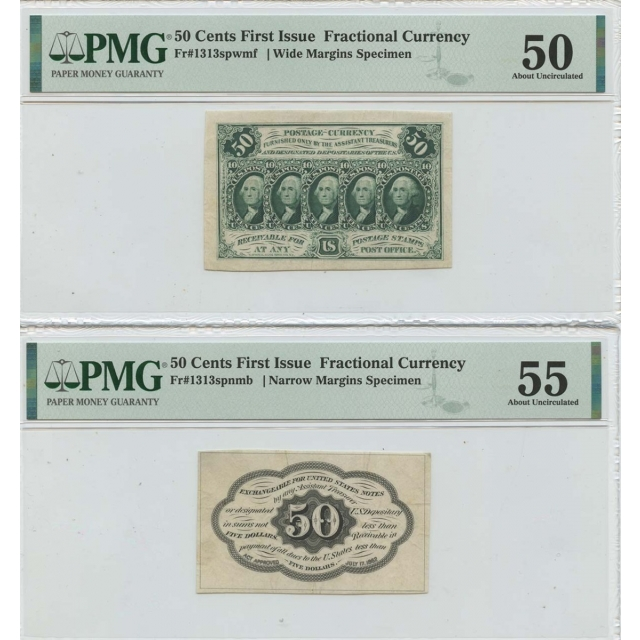 2pc Set First Issue 50 Cents Fractional Specimen 1313spnmb PMG AU55
