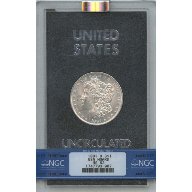 1881-O Morgan Dollar GSA HOARD S$1 NGC MS63