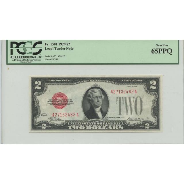 1928 $2 Legal Tender FR#1501 PCGS 65 PPQ Gem