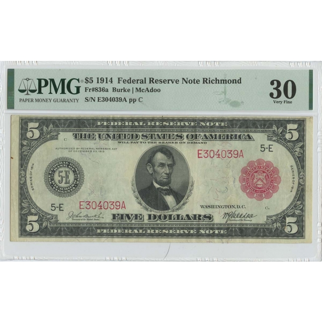 1914 $5 Federal Reserve Note Richmond Red Seal FR#836a PMG 30