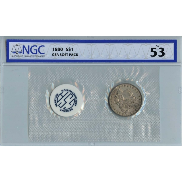1880 Morgan Dollar GSA SOFT PACK S$1 NGC AU53