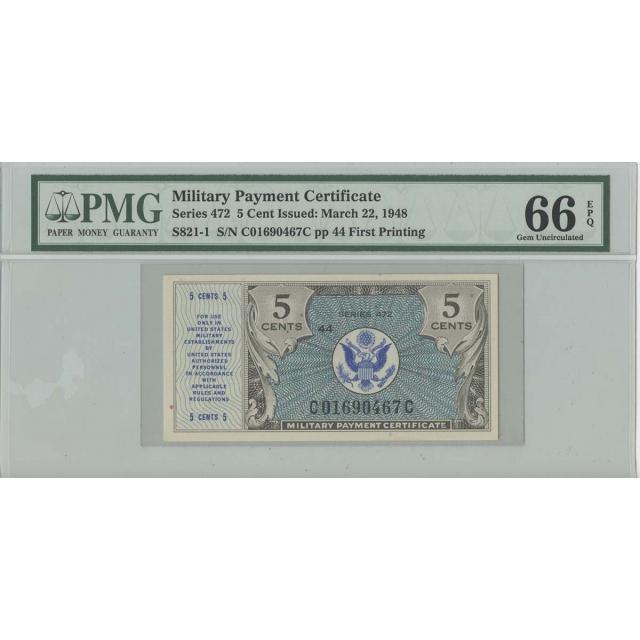 Series 472 5 Cent Military Payment PMG 66 Gem EPQ