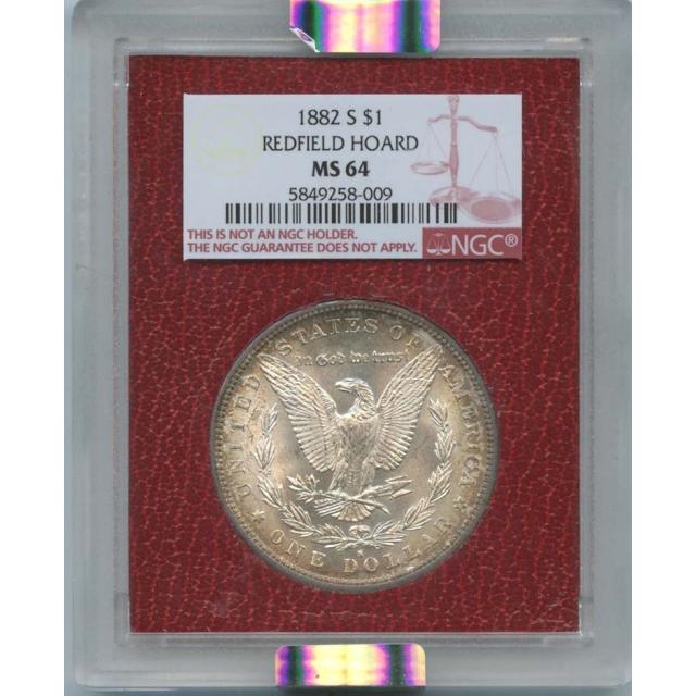1882 S $1 Morgan Dollar Redfield Hoard NGC MS 64