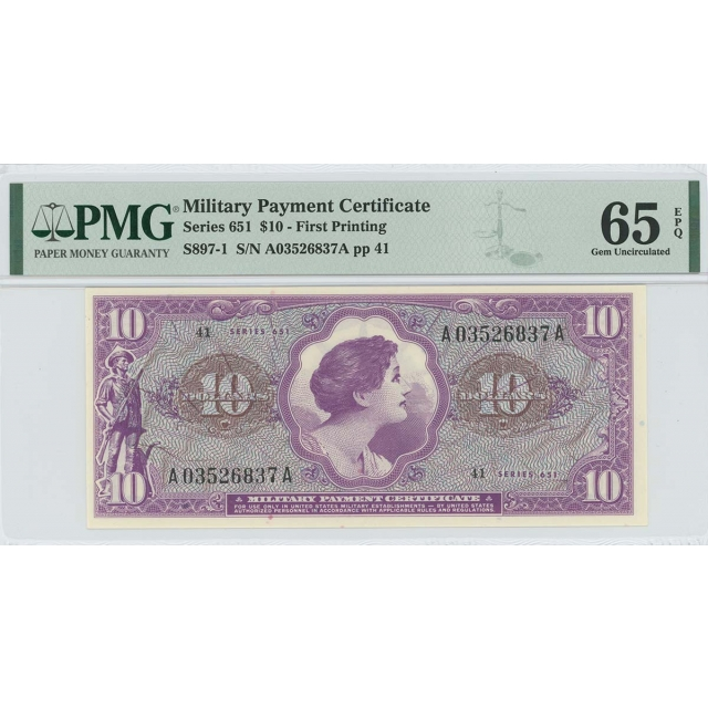 Series 651 $10 Military Payment Certificate MPC PMG Gem 65 EPQ