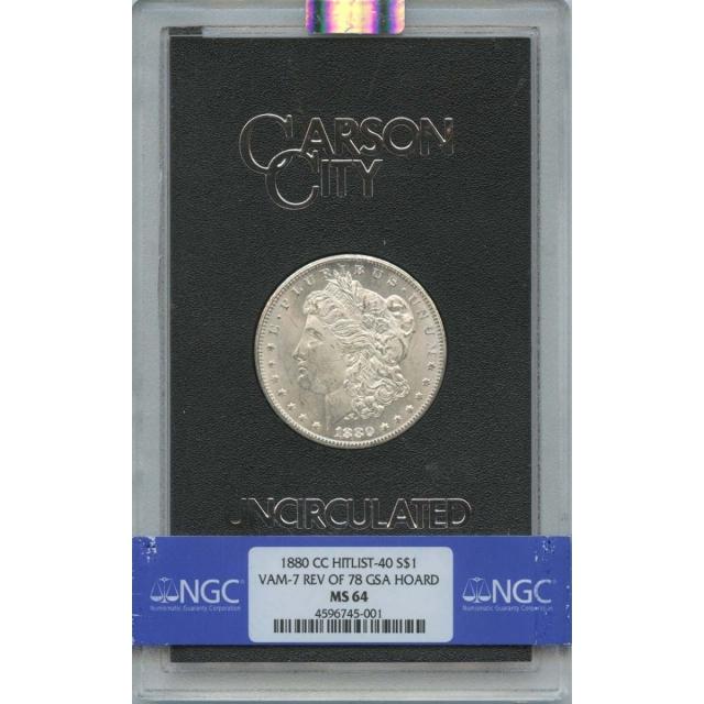 1880-CC HITLIST-40 Morgan Dollar VAM-7 REV OF 78 GSA HOARD S$1 NGC MS64