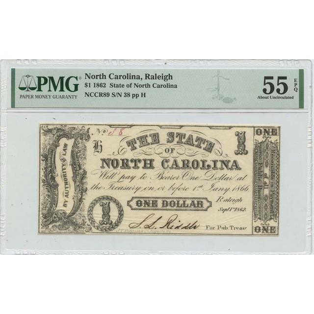 1862 $1 North Carolina Raleigh State of North Carolina PMG AU55 EPQ