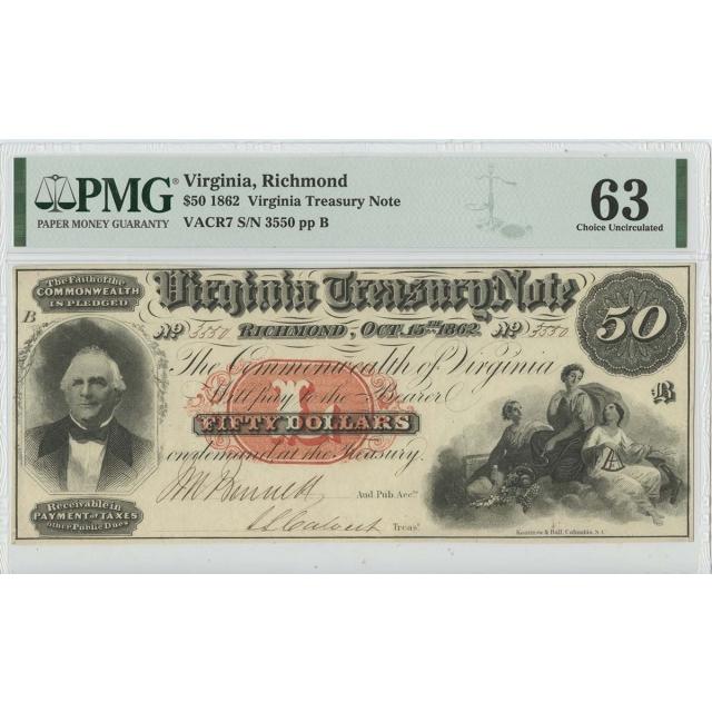 1862 $50 Richmond Virginia Treasury Note PMG 63 CH Unc