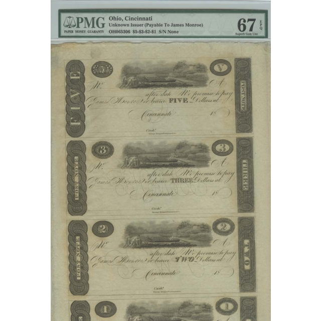 Cincinnati, (OH) $5-$3-$2-$1 18__ Obsolete Notes PMG Superb Gem 67 EPQ Sheet