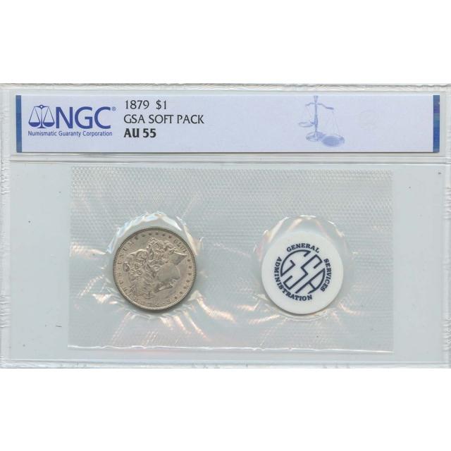 1879 Morgan Dollar GSA SOFT PACK S$1 NGC AU55