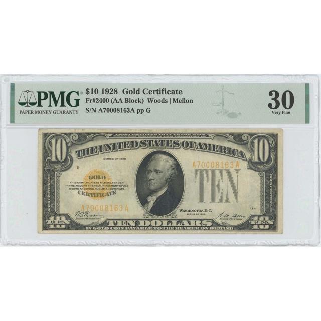 1928 $10 Gold Certificate Woods Mellon Fr# 2400 PMG VF30