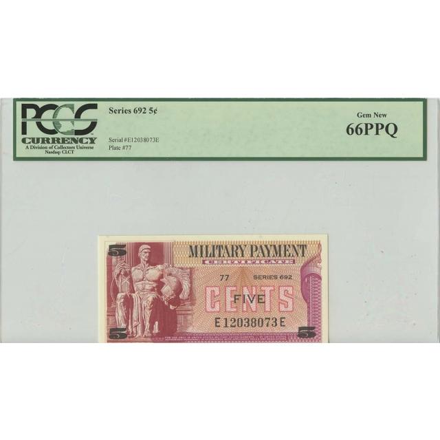 Series 692 5 Cent Military Payment PCGS 66 Gem PPQ