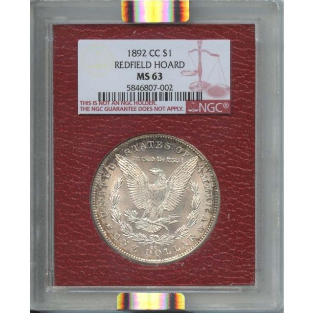 1892-CC $1 Morgan Dollar Redfield Hoard NGC MS 63