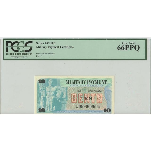 Series 692 10 Cents Military Payment PCGS Gem 66 PPQ