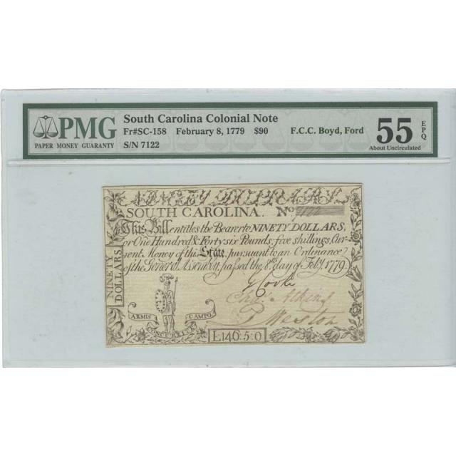 1779 $90 South Carolina Colonial FR#SC-158 PMG 55EPQ Heracles