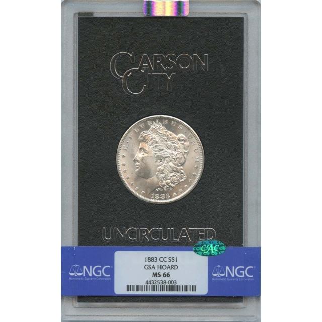 1883-CC Morgan Dollar GSA HOARD S$1 NGC MS66 CAC
