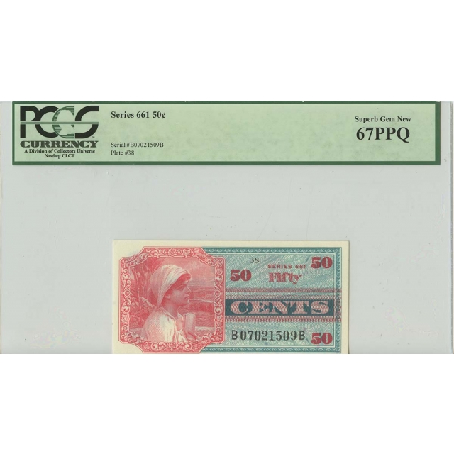 Series 661 50 Cents Military Payment PCGS Superb Gem 67 PPQ