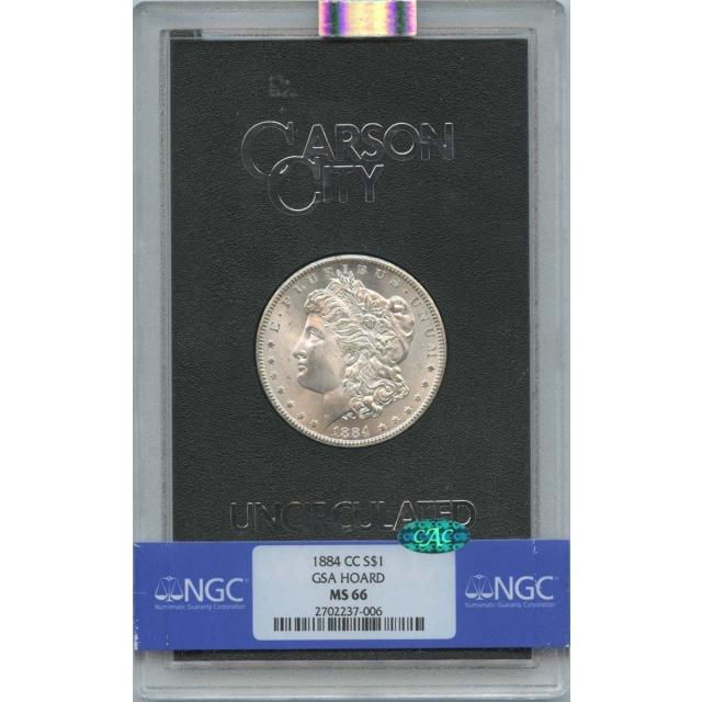 1884-CC Morgan Dollar GSA HOARD S$1 NGC MS66 (CAC)