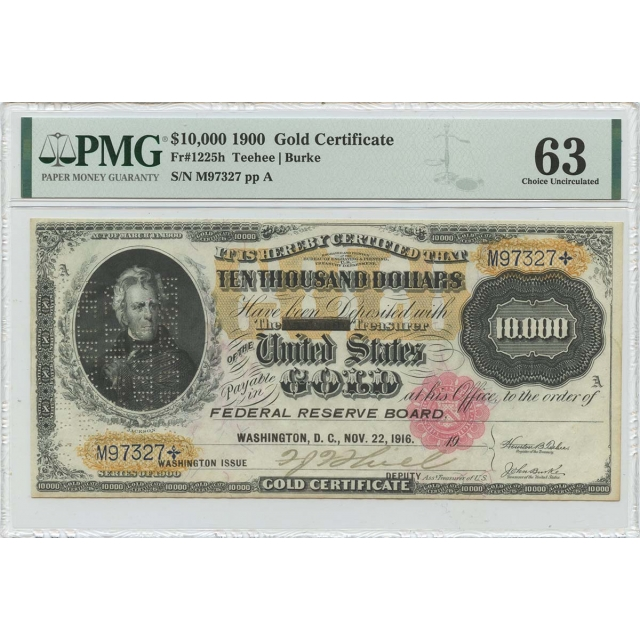 1900 $10000 Gold Certificate Small Red Fr# 1225h PMG 63