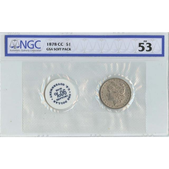 1878-CC Morgan Dollar GSA SOFT PACK S$1 NGC AU53