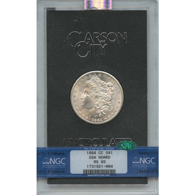 1884-CC Morgan Dollar GSA HOARD S$1 NGC MS65 (CAC)