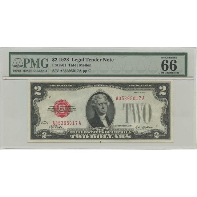 1928 $2 Legal Tender FR#1501 PMG 66 EPQ Gem