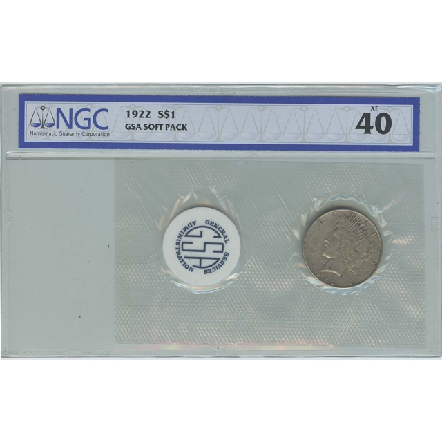 1922 Peace Dollar GSA SOFT PACK S$1 NGC XF40