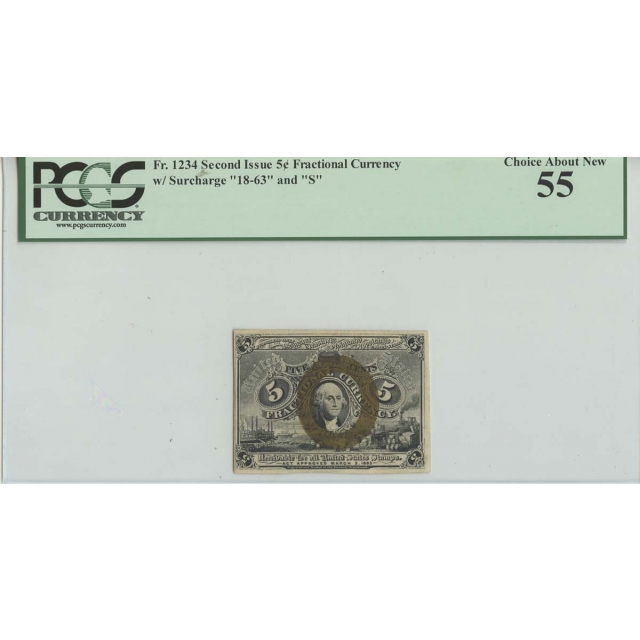 5c Fractional Second Issue w/Surcharge PCGS 55 Choice About New