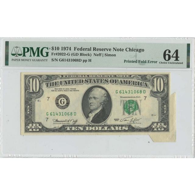 1974 $10 FRN Printed Fold Error FR#2022-G PMG CH Unc 64