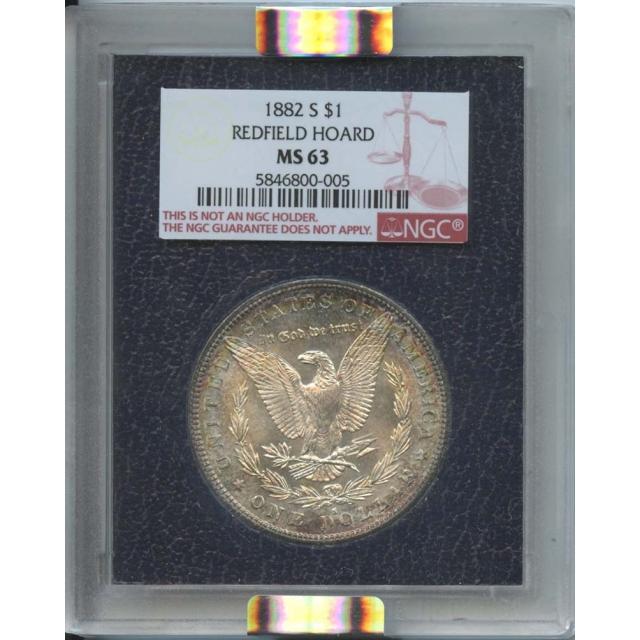 1882 S $1 Morgan Dollar Redfield Hoard NGC MS 63