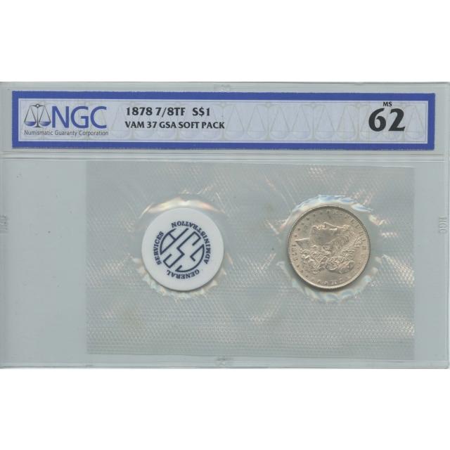 1878 7/8TF Morgan Dollar VAM-37 GSA SOFT PACK S$1 NGC MS62