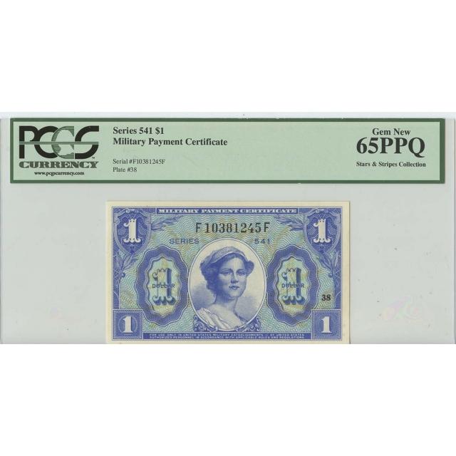 Series 541 $1 Military Payment PCGS Gem 65 PPQ