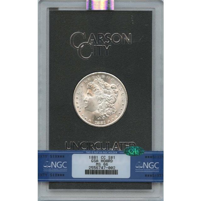 1881-CC Morgan Dollar GSA HOARD S$1 NGC MS66 CAC