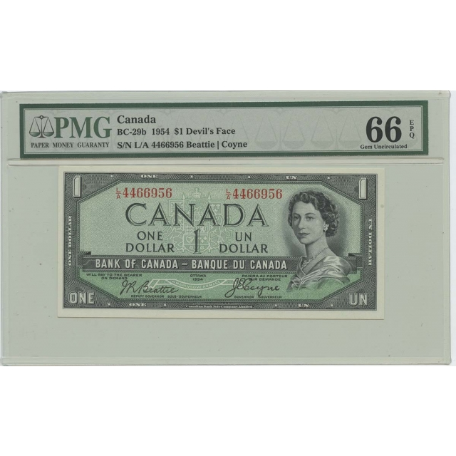 1954 $1 Canada BC-29b Devils's Face PMG 66 Gem UNC EPQ