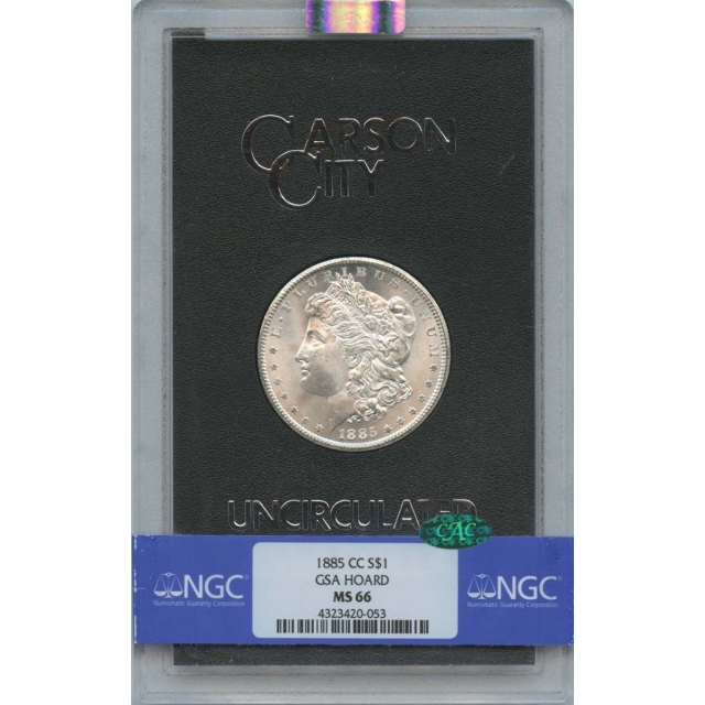 1885-CC Morgan Dollar GSA HOARD S$1 NGC MS66 CAC
