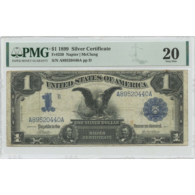 1899 $1 Silver Certificate Blue Black Eagle Fr# 230 PMG VF20